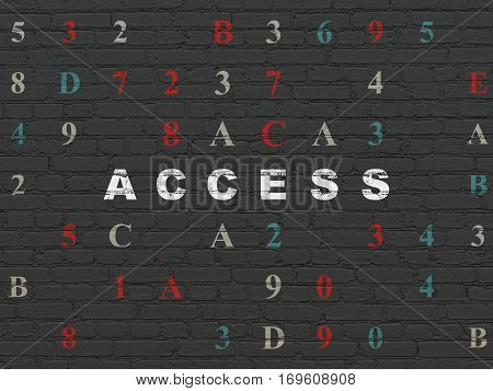 Security concept: Painted white text Access on Black Brick wall background with Hexadecimal Code