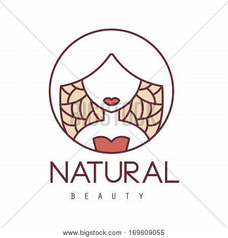 Natural Beauty Salon Hand Drawn Cartoon Outlined Sign Design Template With Stylized Woman On Floral Background In Round Frame. Artistic Promotion Logo For Cosmetology Services And Beautifying Procedures.