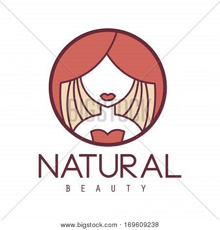 Natural Beauty Salon Hand Drawn Cartoon Outlined Sign Design Template With Portrait Of Woman Behind Red Curtain In Round Frame. Artistic Promotion Logo For Cosmetology Services And Beautifying Procedures.