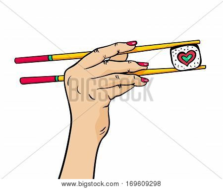 Female hand holding chopsticks with sushi roll in form of heart in her hand isolated on white background. Vector bright hand drawn illustration in retro comic style.