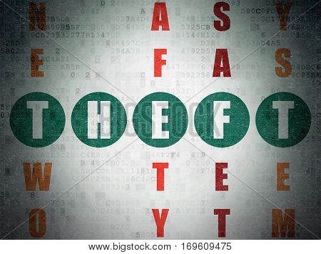 Privacy concept: Painted green word Theft in solving Crossword Puzzle on Digital Data Paper background