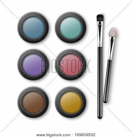 Vector Set of MultiColored Light Blue Pink Brown Violet Yellow Turquoise Ocher Eye Shadows in Round Black Transparent Plastic Case with Makeup Brushes Applicators Top View Isolated on White Background