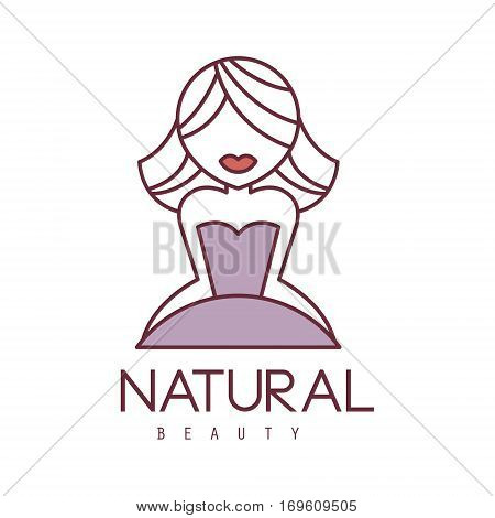 Natural Beauty Salon Hand Drawn Cartoon Outlined Sign Design Template With Blond Girl With Short Hair In Violet Dress. Artistic Promotion Logo For Cosmetology Services And Beautifying Procedures.