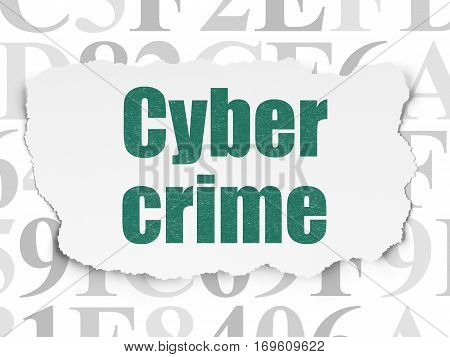 Privacy concept: Painted green text Cyber Crime on Torn Paper background with  Hexadecimal Code