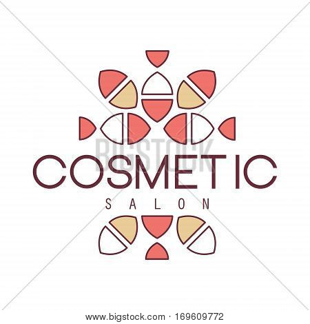 Natural Beauty Salon Hand Drawn Cartoon Outlined Sign Design Template With Geometric Simple Pattern Separated By Text. Artistic Promotion Logo For Cosmetology Services And Beautifying Procedures.