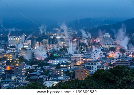 Japan cityscape with hot spring bath houses