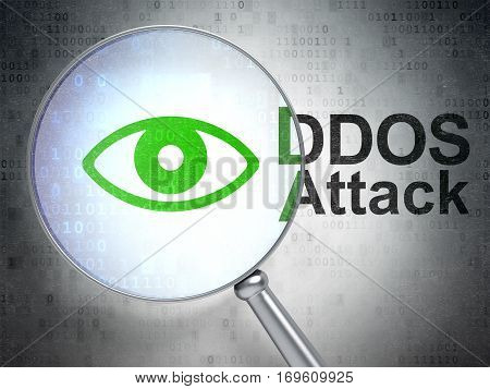 Protection concept: magnifying optical glass with Eye icon and DDOS Attack word on digital background, 3D rendering