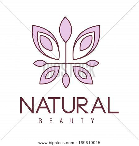 Natural Beauty Salon Hand Drawn Cartoon Outlined Sign Design Template With Stylized Floral Violet Butterfly. Artistic Promotion Logo For Cosmetology Services And Beautifying Procedures.
