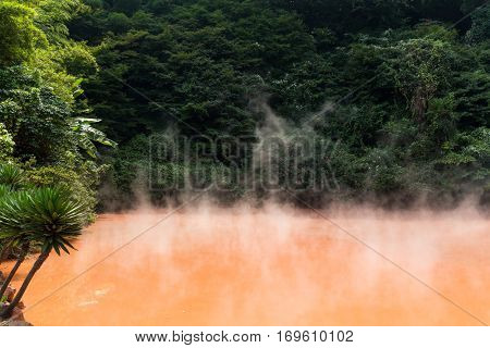 Blood pond hotsprings in Beppu of Japan