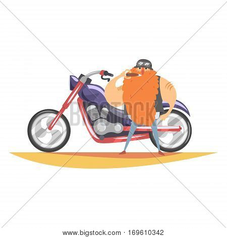 Outlaw Biker Club Member With Long Red Beard With Heavy Chopper And Cigar In Leather Vest. Vector Illustration With Beardy Dangerous Looking Biker And Motorcycle With Subculture Attributes.