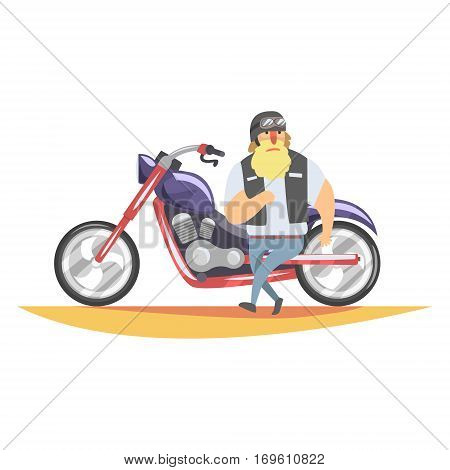 Outlaw Biker Club Member With Long Blond Beard With Heavy Chopper In Leather Vest. Vector Illustration With Beardy Dangerous Looking Biker And Motorcycle With Subculture Attributes.