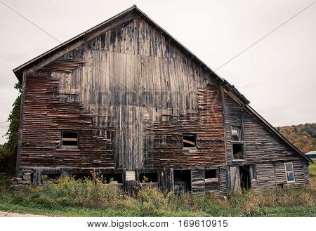 Collapsing old wooden rustic wooden barn in Vermont
