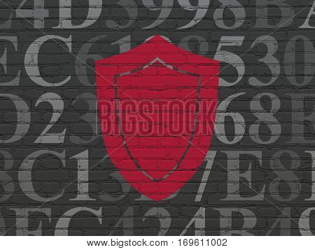 Privacy concept: Painted red Shield icon on Black Brick wall background with  Hexadecimal Code