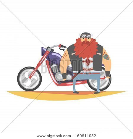 Outlaw Biker Club Member With Long Beard And Tattooes Standing Next To Heavy Chopper In Leather Vest. Vector Illustration With Beardy Dangerous Looking Biker And Motorcycle With Subculture Attributes.