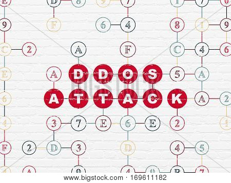 Protection concept: Painted red text DDOS Attack on White Brick wall background with Hexadecimal Code