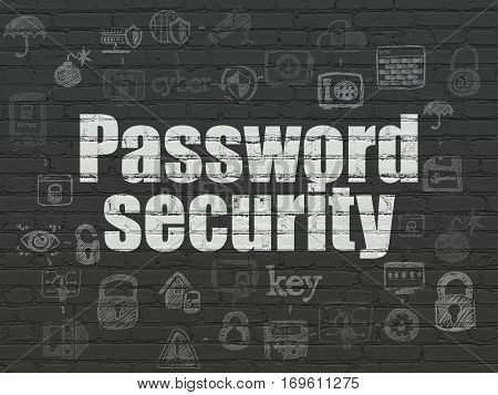 Privacy concept: Painted white text Password Security on Black Brick wall background with Scheme Of Hand Drawn Security Icons