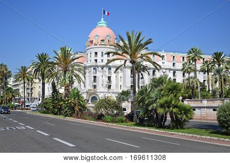 NICE, FRANCE - JUL 26, 2016: Famous luxury hotel Negresco in neoclassical style on promenade des Anglais
