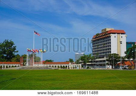 Labuan,Malaysia-Feb 8,2017:Labuan Square is one of the many famous landmarks in Labuan, Malaysia. The central focuses a raised opened stage with flags of Malaysia flying on tall poles.