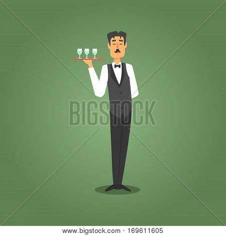 Male Waiter In Bow Tie Serving Champagne To Gamblers, Gambling And Casino Night Club Related Cartoon Illustration. Classic Las Vegas Gambling Club Cartoon Vector Drawing.