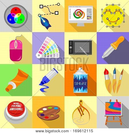 Design and drawing tools set. Flat illustration of 16 design and drawing tools vector icons for web
