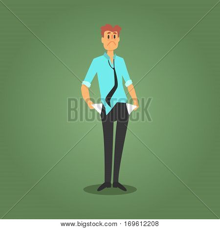 Sad Gambler That Lost All The Money, Broke And Bankrupt, Gambling And Casino Night Club Related Cartoon Illustration. Classic Las Vegas Gambling Club Cartoon Vector Drawing.