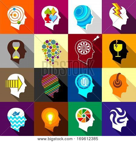 Human head logos icons set. Flat illustration of 16 Human head logos vector icons for web