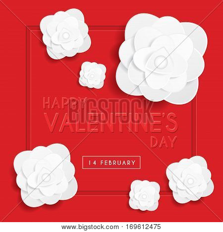 Happy Valentine's Day greeting card template with emboss text & white rose on red background. 14 february vector illustration.