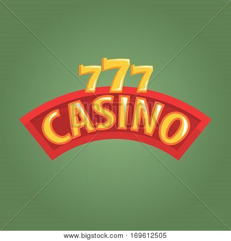 Casino Label Outdoor Sign In Red And Golden Colors, Gambling And Casino Night Club Related Cartoon Illustration. Classic Las Vegas Gambling Club Cartoon Vector Drawing.