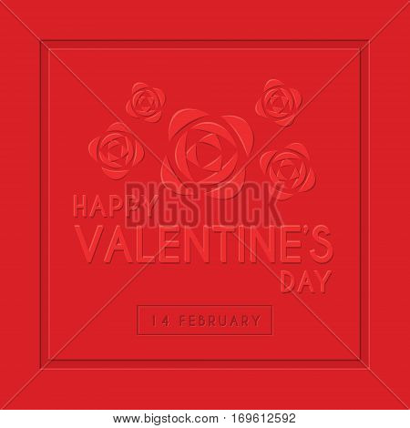 Happy Valentine's Day greeting card template design with emboss text & red roses. 14 february vector illustration.