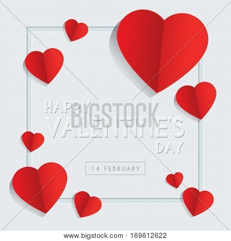 Happy Valentine's Day greeting card template design with emboss text & red heart shape on white background. 14 february vector illustration.