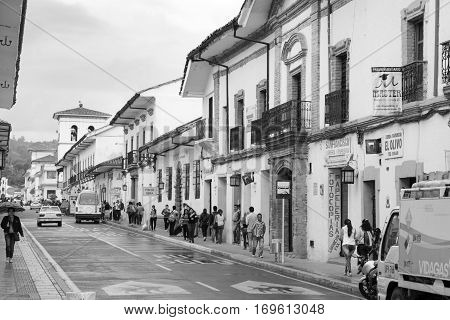 popayan, colombia - November, 27th, 2015 - houses on main street in white city popayan colombia south america