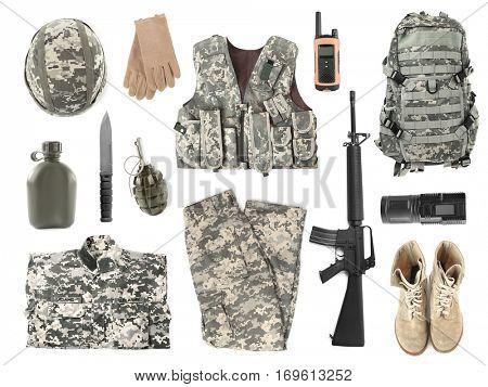 Set of military stuff on white background