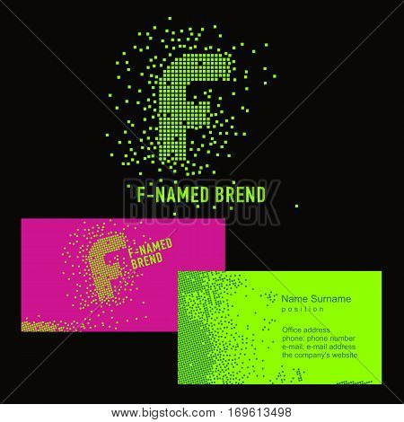 Template F brand name -Company. Corporate identity for the company on the letter F: logo, business card. Creative logo of pixels consists of particles letter F
