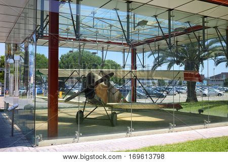 GENOA, ITALY - JUL 20, 2016: Old airplane in Genoa Cristoforo Colombo Airport, Every year, 1.2 million passengers use airport services