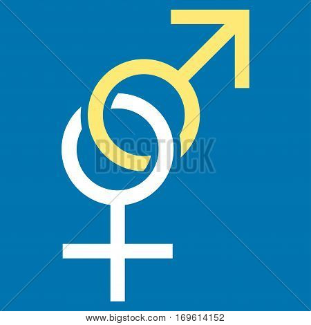 Sex Symbol flat icon. Vector bicolor yellow and white symbol. Pictograph is isolated on a blue background. Trendy flat style illustration for web site design logo ads apps user interface.