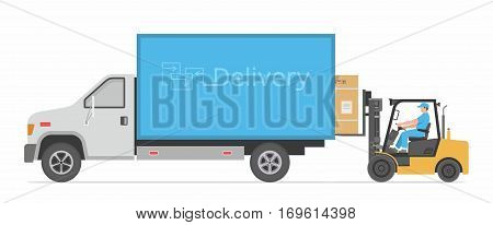 Flat concept of delivery truck with forklift loading with box into the car