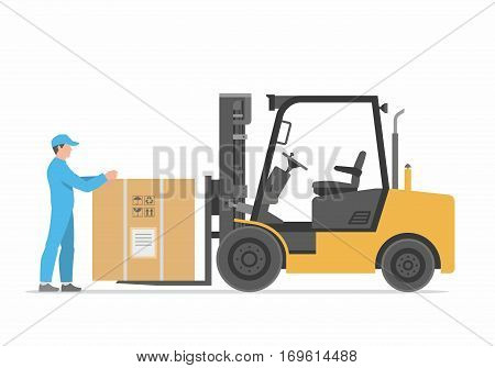 forklift truck with box. Flat styled vector illustration