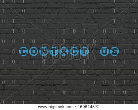 Business concept: Painted blue text Contact us on Black Brick wall background with Binary Code