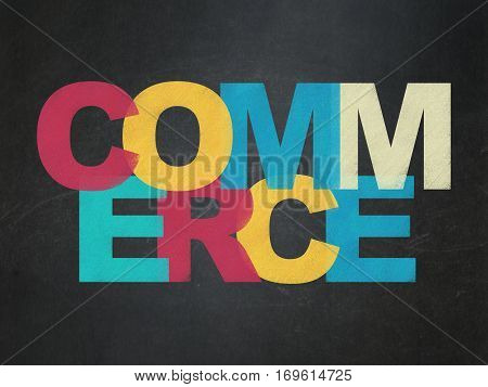 Finance concept: Painted multicolor text Commerce on School board background, School Board