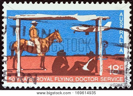 AUSTRALIA - CIRCA 1978: A stamp printed in Australia issued for the 50th anniversary of Royal Flying Doctor Service shows Piper PA-31 Navajo landing at Station Airstrip, circa 1978.
