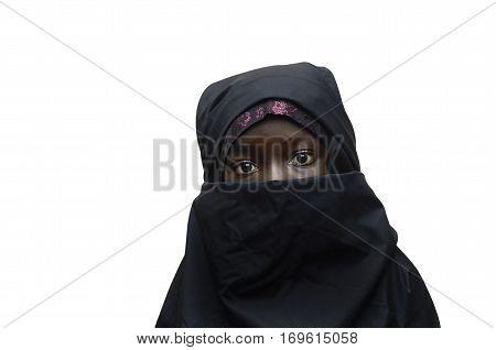 Isolated African Arab Schoolgirl Veil Niqab Head Scarf