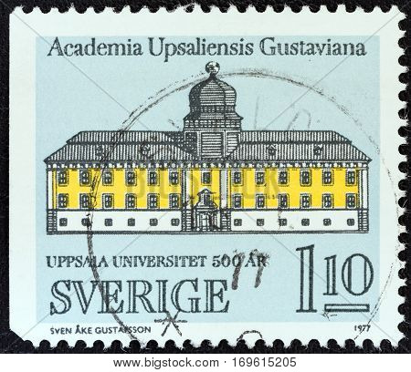 SWEDEN - CIRCA 1977: A stamp printed in Sweden issued for the 500th anniversary of Uppsala University shows Gustavianum, Uppsala University, circa 1977.