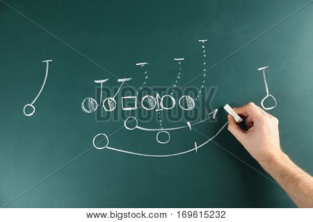 Hand drawing scheme of football game on blackboard background