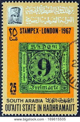 QU'AITI STATE IN THE HADHRAMAUT  - CIRCA 1967: A stamp printed in Yemen from the