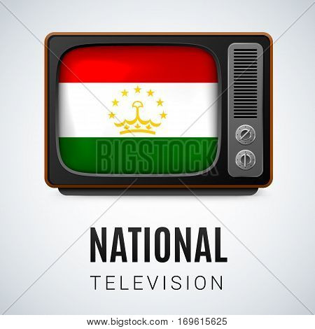 Vintage TV and Flag of Tajikistan as Symbol National Television. Tele Receiver with Tajik flag