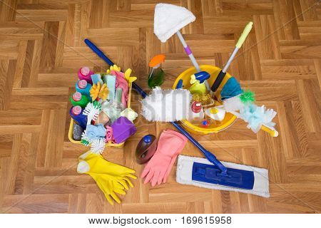 Cleaning Supplies And Equipment On Floor