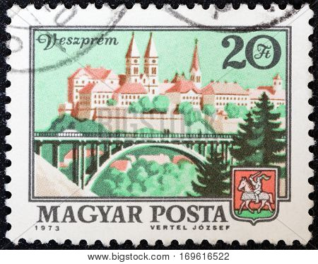 HUNGARY - CIRCA 1972: A stamp printed in Hungary shows Veszprem, circa 1972.