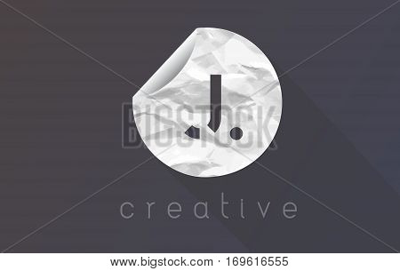 J Letter Logo with Crumpled And Torn Wrapping Paper Texture Vector.