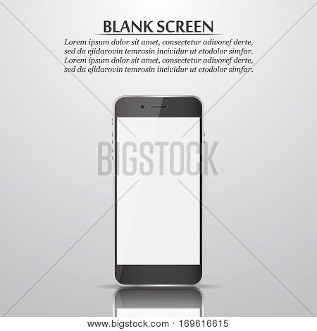 Blank screen. Smartphone with reflection and shadow. Vector illustration
