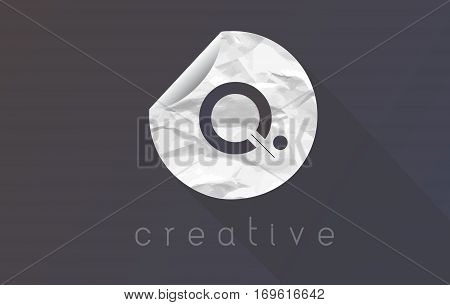 Q Letter Logo with Crumpled And Torn Wrapping Paper Texture Vector.